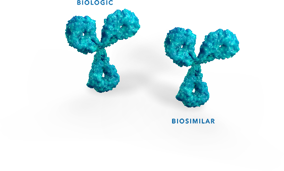 Two 3-D molecules showingbiosimilarity between biologicand biosimilar